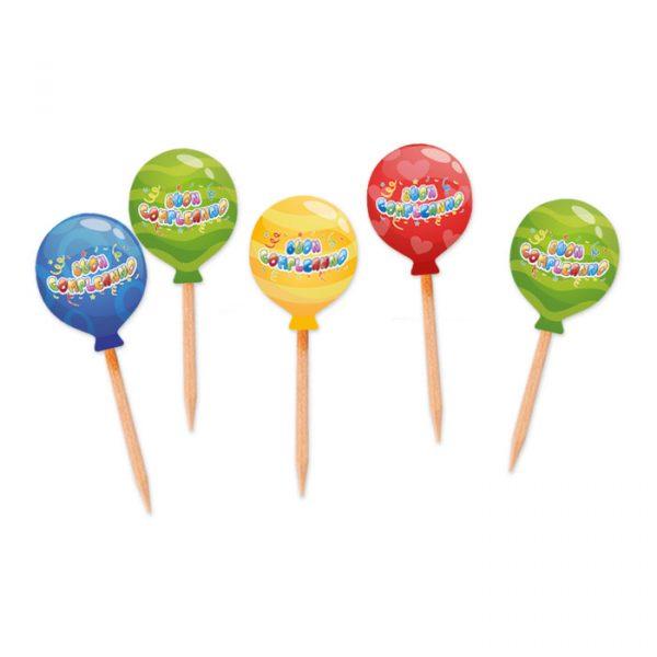 25 Picks Sagomati 3 x 7 cm Buon Compleanno Balloon