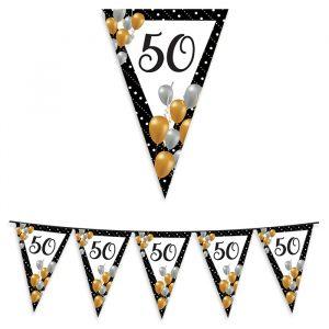 Festone Bandierine in plastica 600 x 25 cm 50 Anni Prestige