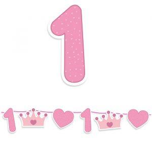 Festone Kit Maxi 600 x 25 cm Buon Primo Compleanno Rosa