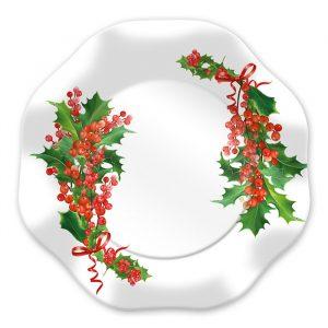8 Piatti Ø 27 cm Bianco Natale