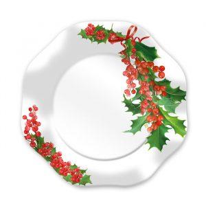 8 Piatti Ø 23 cm Bianco Natale