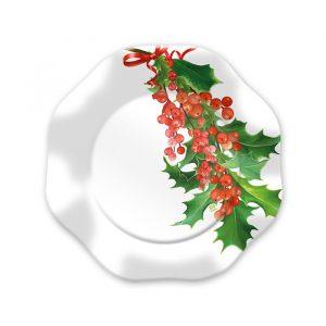 8 Piatti Ø 18 cm Bianco Natale