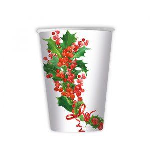 8 Bicchieri 200 cc Bianco Natale