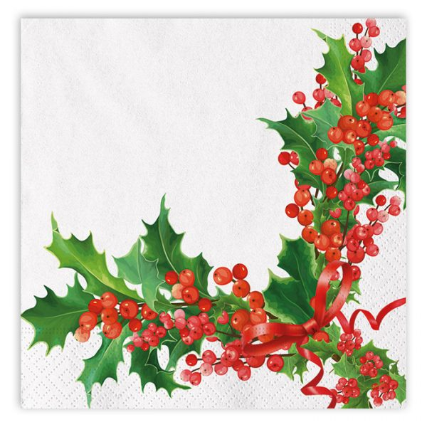 20 Tovaglioli 33 x 33 cm Bianco Natale