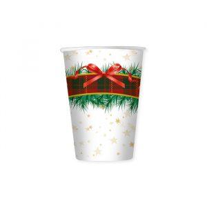 8 Bicchieri 200 cc Natale Scozzese