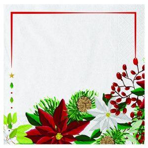 20 Tovaglioli 33 x 33 cm Poinsettia Bouquet