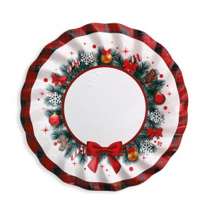 6 Piatti Fondi cm.24 Christmas Kilt