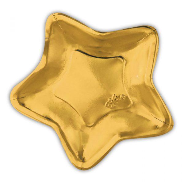 6 Piatti cm.32 Stella Oro Metal