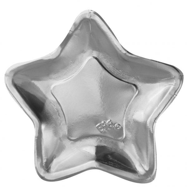 6 Piatti cm.32 Stella Argento Metal