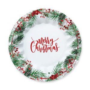 8 Piatti 25 cm Merry Christmas