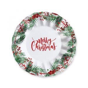 6 Piatti Fondi 24 cm Merry Christmas