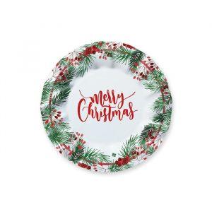 8 Piatti 20 cm Merry Christmas
