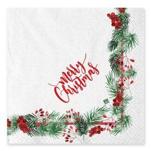 20 Tovaglioli 33 x 33 cm Merry Christmas