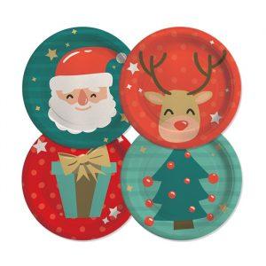 8 Piatti 24 cm Funny Christmas
