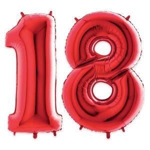 """Palloncino Mylar Rosso 40"""" Numero 18"""