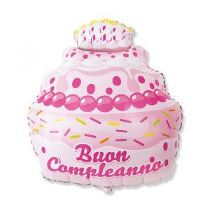 "Palloncino Mylar a Forma 29"" / 60 x 74 cm Buon Compleanno Cake Rosa"