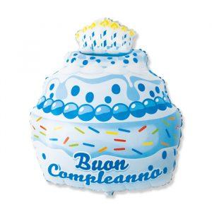 "Palloncino Mylar a Forma 29"" / 60 x 74 cm Buon Compleanno Cake Celeste"