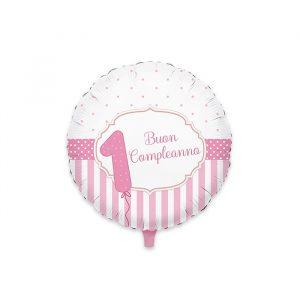 """Palloncino Mylar 18"""" Buon Primo Compleanno Rosa"""