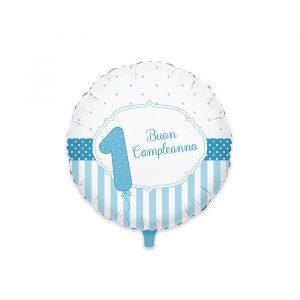 """Palloncino Mylar 18"""" Buon Primo Compleanno Celeste"""
