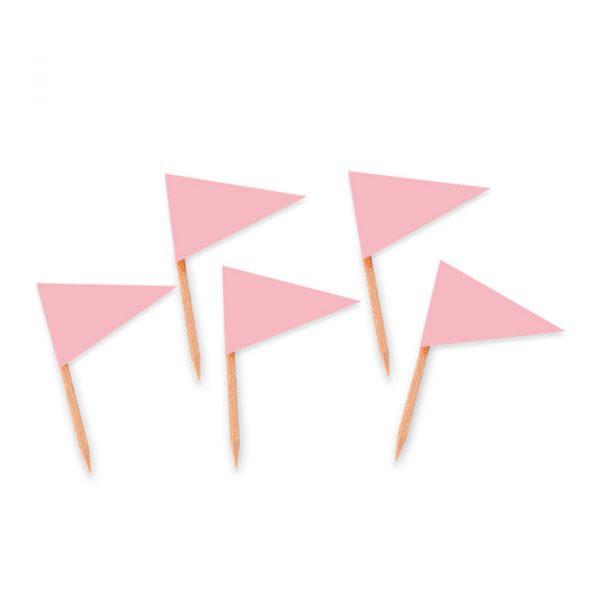25 Picks Bandierina Triangolare 4 x 7 cm Rosa