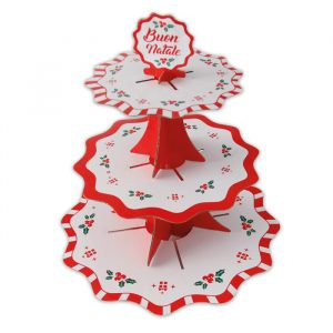 Alzatina in cartoncino a 3 piani da 35 - 26 - 21 cm x h35 cm Natale