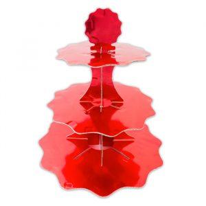 Alzatina in cartoncino a 3 piani da 35 - 26 - 21 cm x h35 cm Rosso Metal
