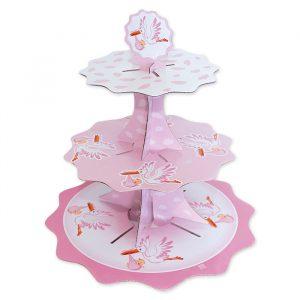 Alzatina in cartoncino a 3 piani da 35 - 26 - 21 cm x h35 cm Cicogna Rosa