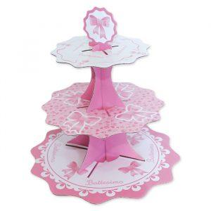 Alzatina in cartoncino a 3 piani da 35 - 26 - 21 cm x h35 cm Il Mio Battesimo Rosa