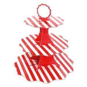 Alzatina in cartoncino a 3 piani da 35 - 26 - 21 cm x h35 cm Stripes Rosso