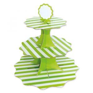 Alzatina in cartoncino a 3 piani da 35 - 26 - 21 cm x h35 cm Stripes Verde Mela