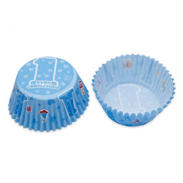 48 Pirottini in carta alimentare Ø 50 - h 32 mm One Light Blue