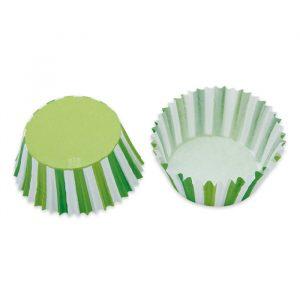 48 Pirottini in carta alimentare Ø 50 - h 32 mm Stripes Verde Mela