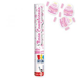 Cannon Sparacoriandoli 30 cm Buon Compleanno Cake Rosa