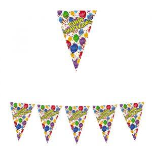 Festone Bandierine in plastica 600 x 25 cm Buon Compleanno Happy Balloons