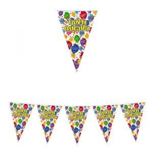 Festone Bandierine in plastica 600 x 25 cm Tanti Auguri Happy Balloons