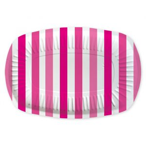 5 Vassoi Rectangle 20 x 30 cm Stripes Fuxia