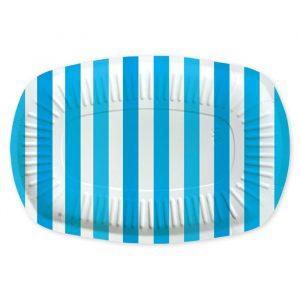 5 Vassoi Rectangle 20 x 30 cm Stripes Turchese