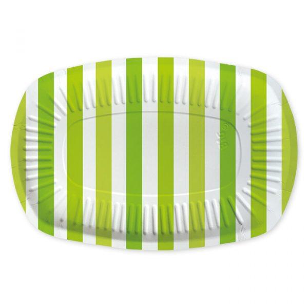 5 Vassoi Rectangle 20 x 30 cm Stripes Verde Mela