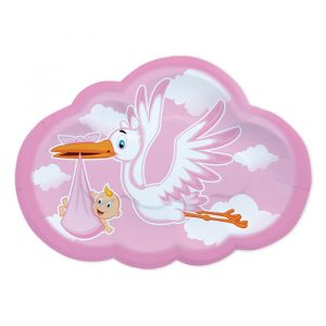 8 Piatti 26 x 18 cm Cicogna Nuvola Rosa