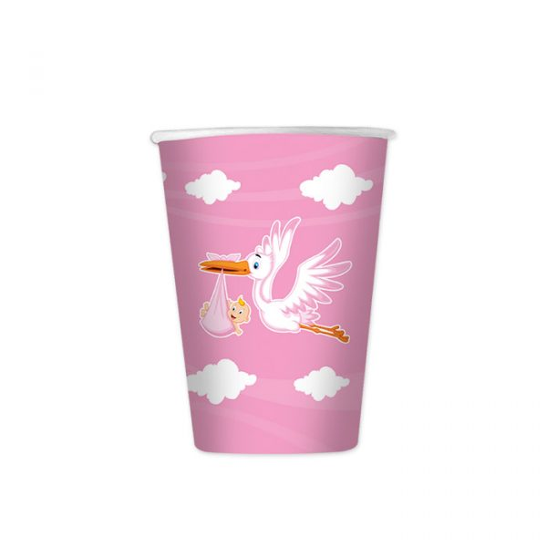 8 Bicchieri 200 cc Cicogna Nuvola Rosa