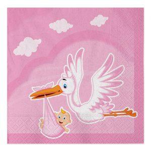 20 Tovaglioli 33 x 33 cm Cicogna Nuvola Rosa