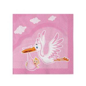 20 Tovaglioli 25 x 25 cm Cicogna Nuvola Rosa