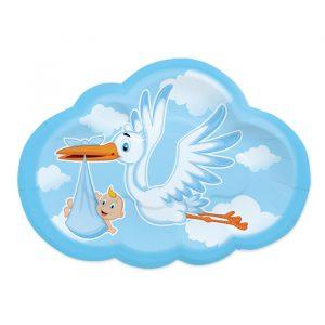 8 Piatti 26 x 18 cm Cicogna Nuvola Celeste