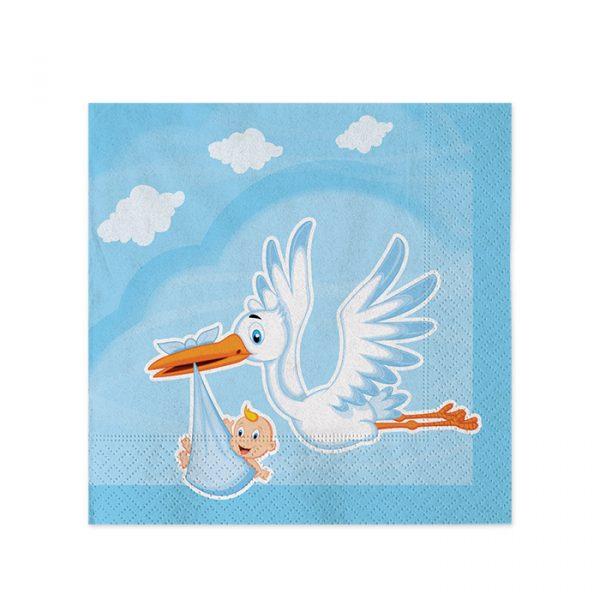 20 Tovaglioli 25 x 25 cm Cicogna Nuvola Celeste