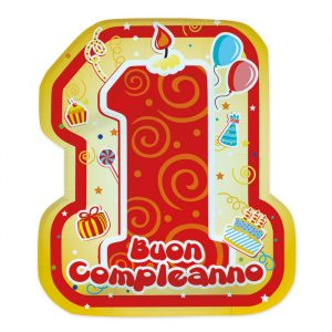 8 Piatti 21 x 25 cm Primo Compleanno