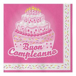 20 Tovaglioli 33 x 33 cm Buon Compleanno Cake Rosa