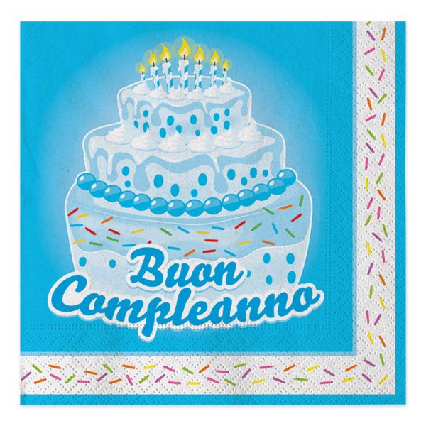20 Tov.li cm.33 x 33 Buon Compl. Cake Celeste