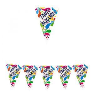 Festone Bandierine in plastica 600 x 25 cm Tanti Auguri Big Party