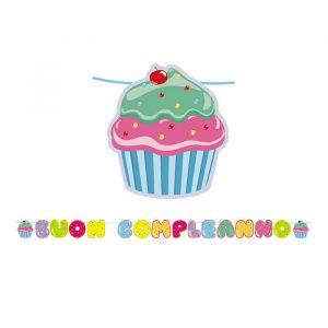 Festone Kit Scritta Maxi 600 x 25 cm Cupcake