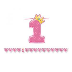 Festone Kit Scritta Maxi 600 x 25 cm Primo Compleanno Rosa
